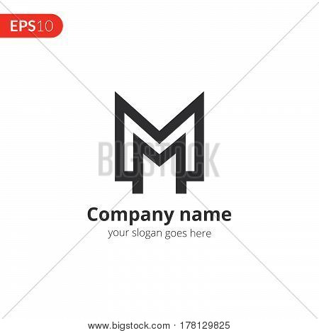 M and M letter logo monogram vector design. Abstract business logo. Monochrome monogram in the circle shape icon template. Grey color symbol on isolated white background.