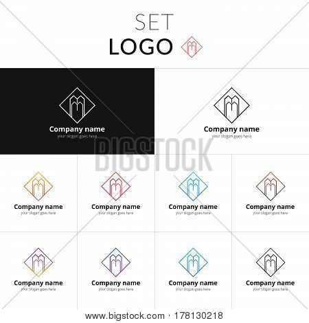 Letter M logo. Set double icon M with colorful gradient. Vector sign on black and white color background. Creative vision concept logo, elements, symbol for card, brand, banners.