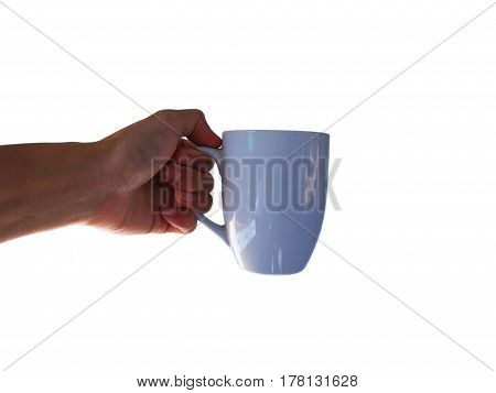 hand hold coffee cup for pour on white background.