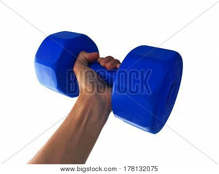 hand hold lifting weights on a white background.