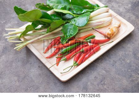 Fresh Asian herb and spicy ingredients food Thai Tom Yam soup