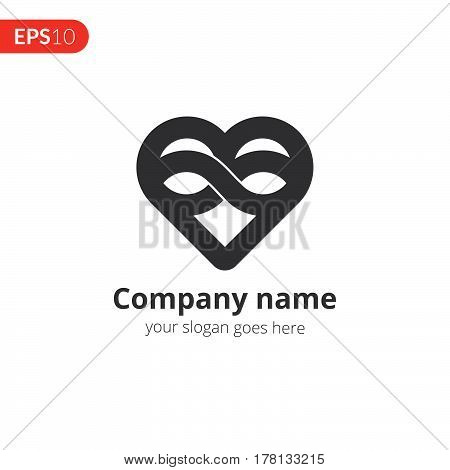 Heart logo vector design. Love with loop icon symbol. Valentine's Day sign, emblem isolated on white background, Flat style for graphic and web design, logo.