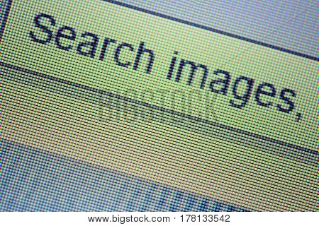 Detail of computer monitor when an image search.