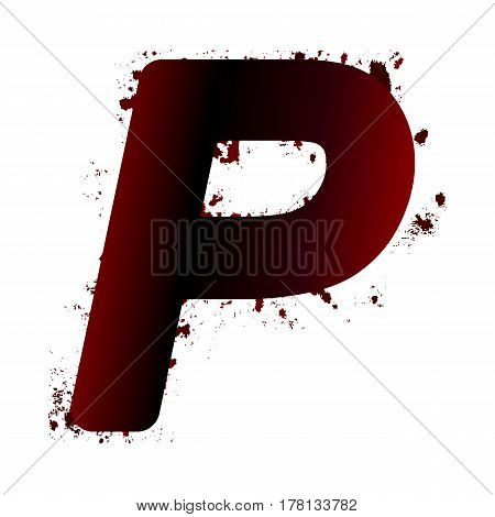 Dirty Bloody Letter P With Spots. Grunge Alphabet. Scary Letters For Halloween