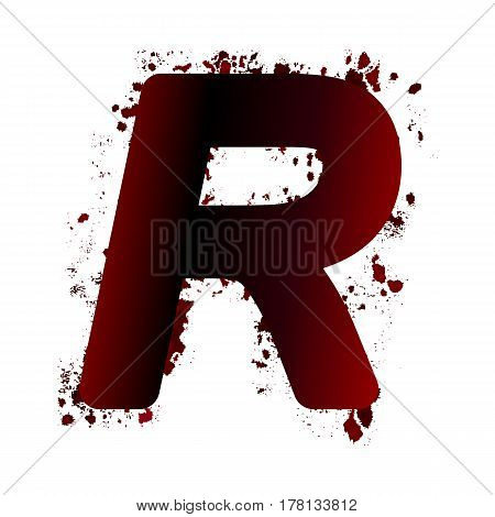 Dirty Bloody Letter R With Spots. Grunge Alphabet. Scary Letters For Halloween
