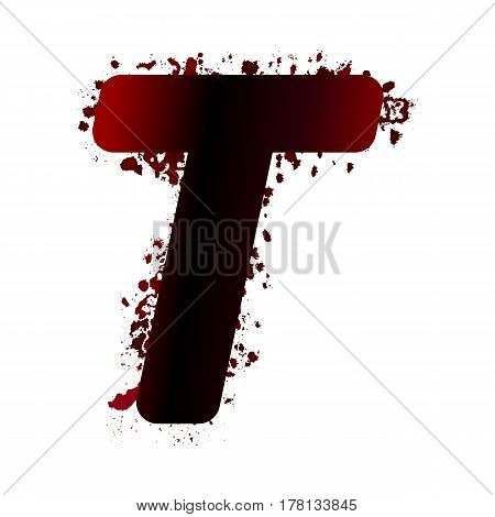 Dirty Bloody Letter T With Spots. Grunge Alphabet. Scary Letters For Halloween