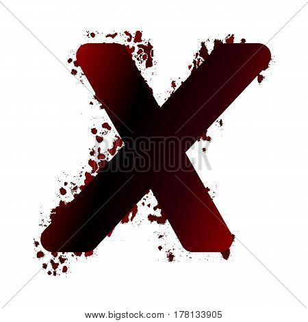 Dirty Bloody Letter X With Spots. Grunge Alphabet. Scary Letters For Halloween