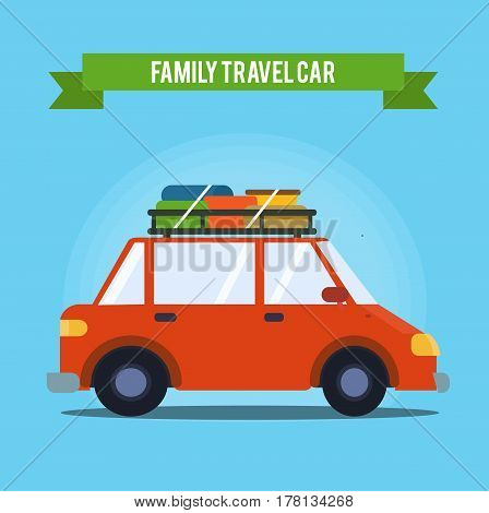 Family vacation. Family travel car concept. Summer vacantion. Vector stock.