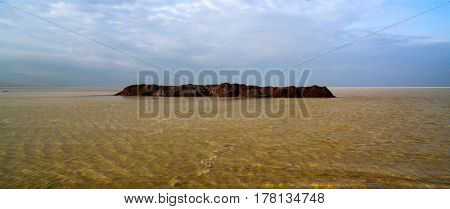 Salt Lake Karum aka Lake Assale or Asale at sunset in Danakil Afar Ethiopia