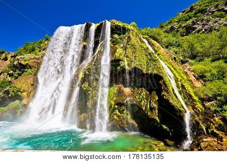 Waterfal Krcic In Knin Turquoise Stream