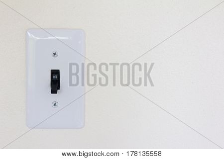 White switch st on state background (Concept for save energy or turn on idea)