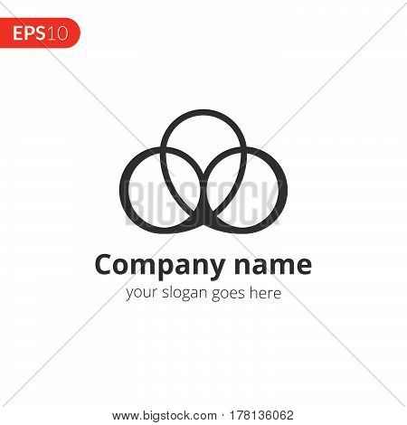 Logo abstract vector design. Three circle emblem identity icon. Monochrome sphere symbol element. Grey color icon on isolated white background.