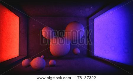 3d illustration background for the poster of your event flowing liquid in a room closeup grunge