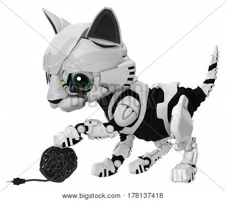 Robotic kitten with electric cable ball 3d illustration horizontal isolated
