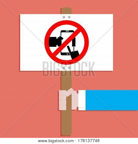 Banner with symbol ban use device phone. Ban playing game on device vector illustration