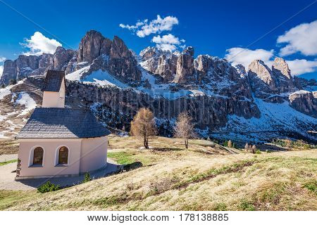 Path To Small Church At Passo Gardena, Dolomites, Italy, Europe