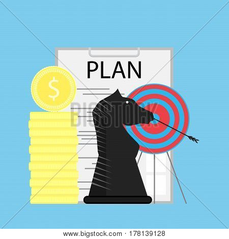 Strategy and plan. Process development strategy finance vector illustration