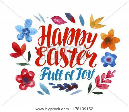 Happy Easter, greeting card. Lettering vector illustration isolated on white background