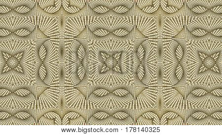 Kaleidoscopic beige pattern is computer graphics and it can be used in the design of textiles in the printing industry in a variety of design projects.