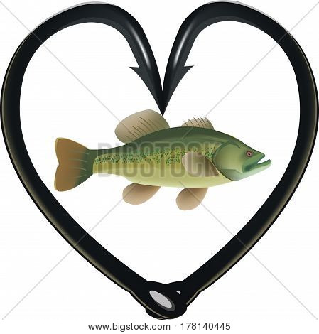 black bass fishing hooks Hooks to heart fishing predatory fish