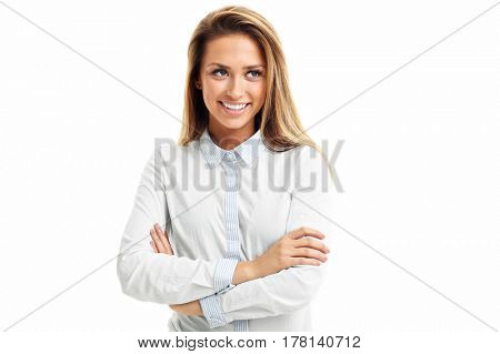 Portrait of happy woman isolated over white background