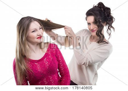 Hairstylist and unhappy client on white background