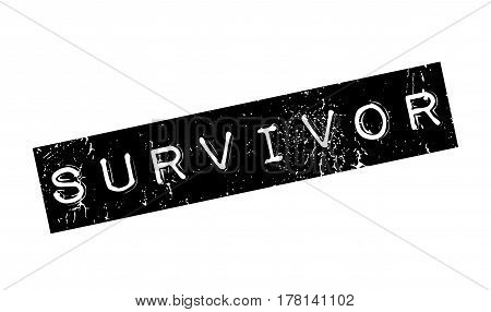 Survivor rubber stamp. Grunge design with dust scratches. Effects can be easily removed for a clean, crisp look. Color is easily changed.