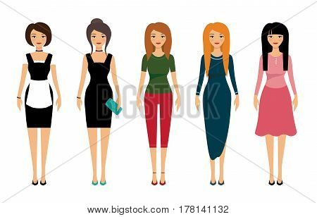 Woman dresscode vector illustration. Beautiful women in different outfits icons on white background