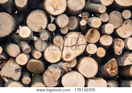 Natural wooden background ,firewood, Firewood stacked and prepared for use pile of wood logs.