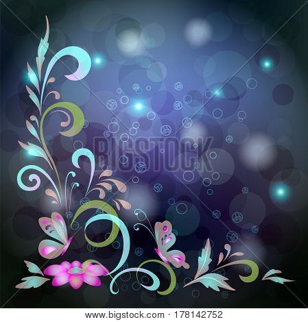 Abstract background with butterflies, flowers and circles