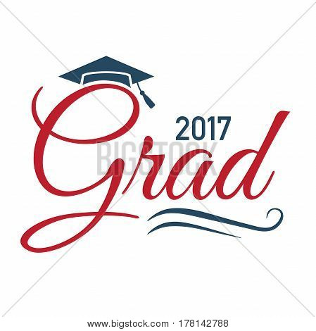 Class of 2017 Congratulations Graduate Typography with Cap