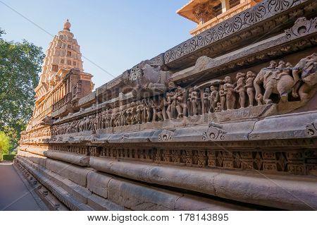 Close Up Of Artful Ancient Carvings, Khajuraho Group Of Monuments, India