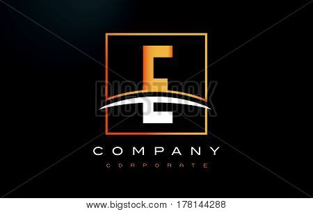 E Golden Letter Logo Design With Gold Square And Swoosh.