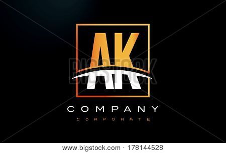 Ak A K Golden Letter Logo Design With Gold Square And Swoosh.