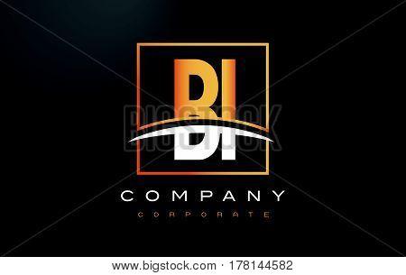 BI B I Golden Letter Logo Design with Swoosh and Rectangle Square Box Vector Design. poster