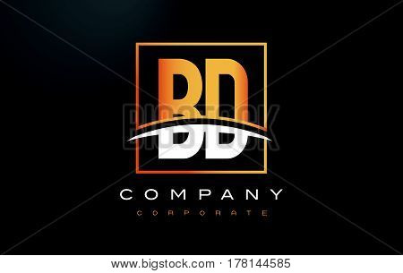 Bd B D Golden Letter Logo Design With Gold Square And Swoosh.