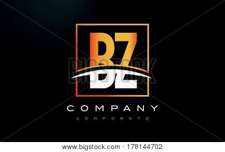 Bz B Z Golden Letter Logo Design With Gold Square And Swoosh.