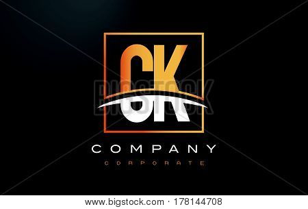 Ck C K Golden Letter Logo Design With Gold Square And Swoosh.