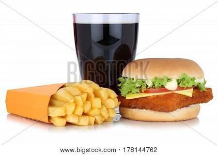 Fish Burger Fishburger Hamburger And French Fries Menu Meal Combo Cola Drink Isolated