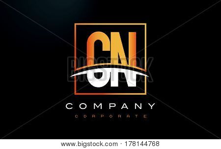 Cn C N Golden Letter Logo Design With Gold Square And Swoosh.