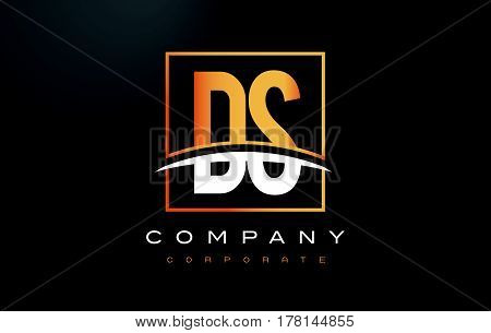 Ds D S Golden Letter Logo Design With Gold Square And Swoosh.