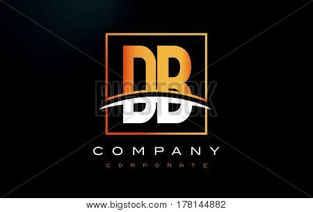 DB D B Golden Letter Logo Design with Swoosh and Rectangle Square Box Vector Design. poster
