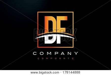 Df D F Golden Letter Logo Design With Gold Square And Swoosh.