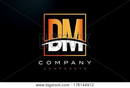 Dm D M Golden Letter Logo Design With Gold Square And Swoosh.