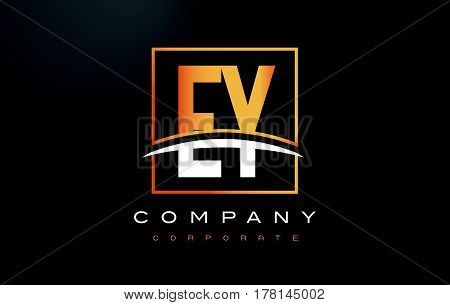 Ey E Y Golden Letter Logo Design With Gold Square And Swoosh.