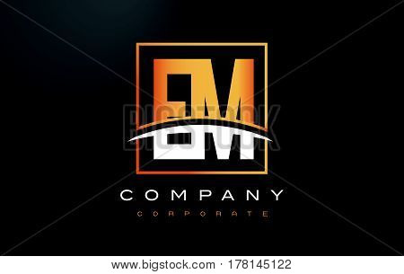 Em E M Golden Letter Logo Design With Gold Square And Swoosh.