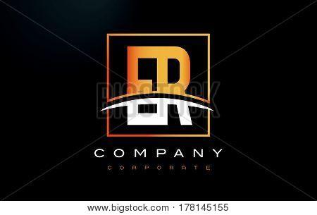 Er E R Golden Letter Logo Design With Gold Square And Swoosh.