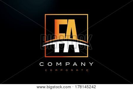 Fa F A Golden Letter Logo Design With Gold Square And Swoosh.