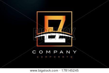 EZ E Z Golden Letter Logo Design with Swoosh and Rectangle Square Box Vector Design. poster