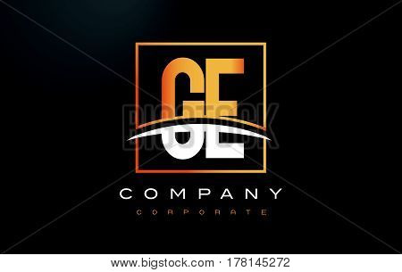 Ge G E Golden Letter Logo Design With Gold Square And Swoosh.